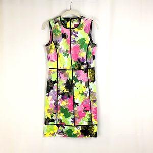 Calvin Klein Floral Sheath Black Piped Dress 6